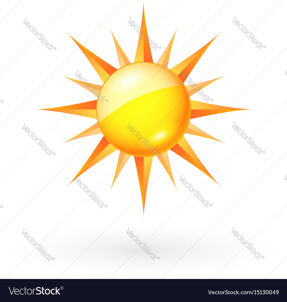 Abstract sun icon on white background for