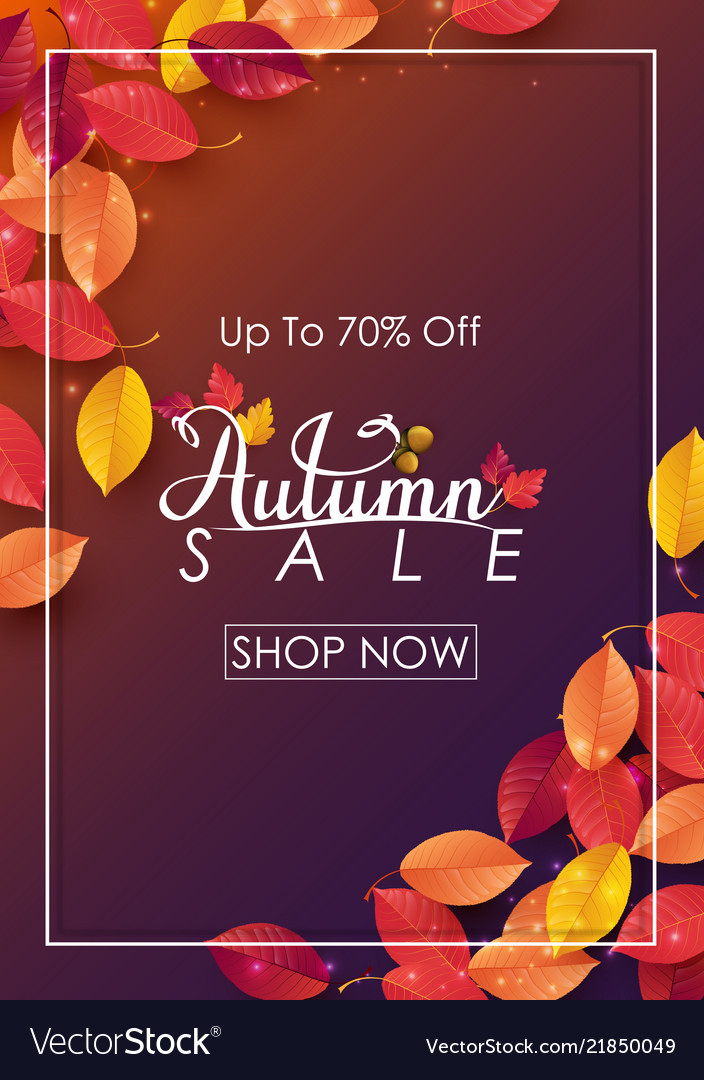 Autumn sale background with falling leaves