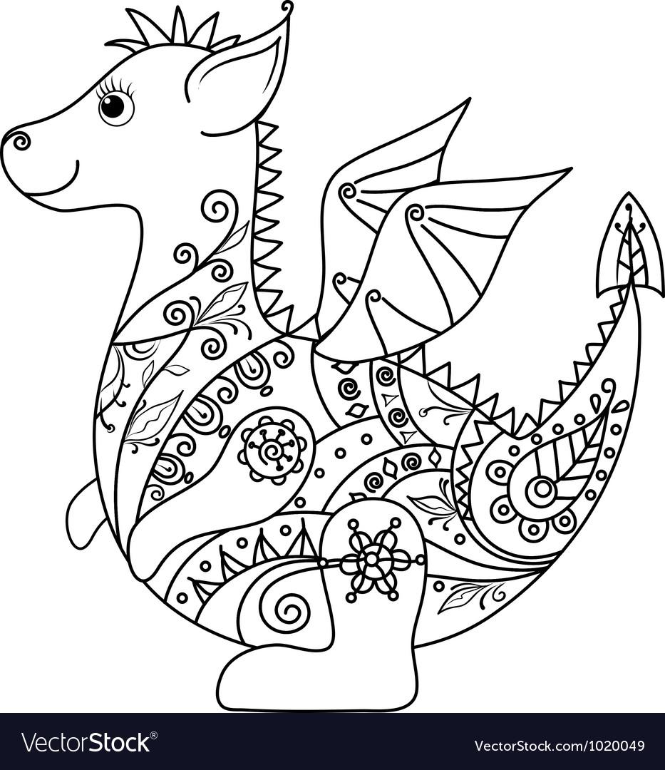 Cartoon Dragon outline
