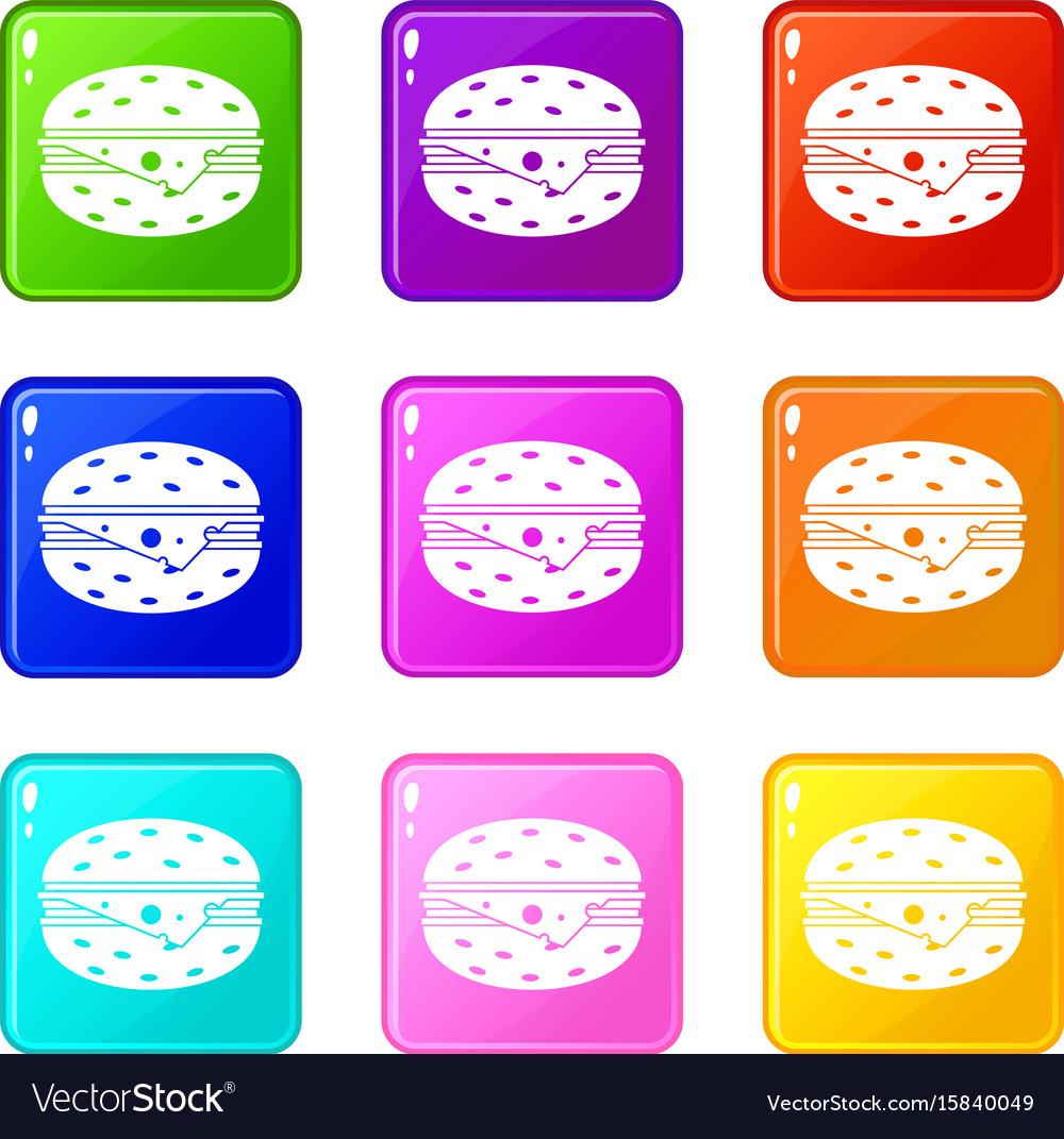 Cheeseburger icons 9 set