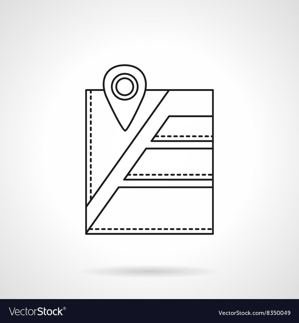 City navigation pin flat line icon