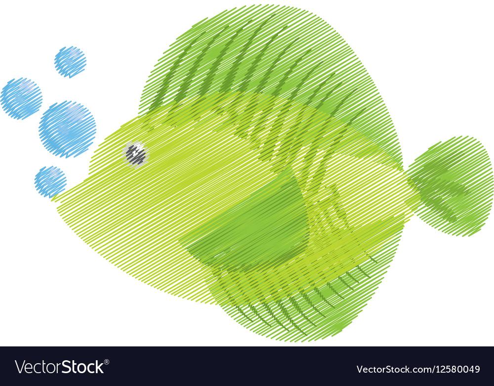 Hand drawing tropical fish sea life bubbles vector image