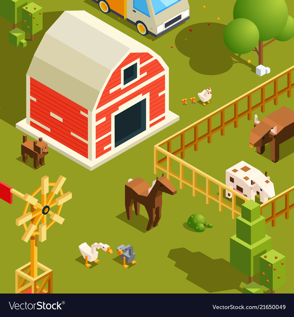 Isometric farm landscape village with various