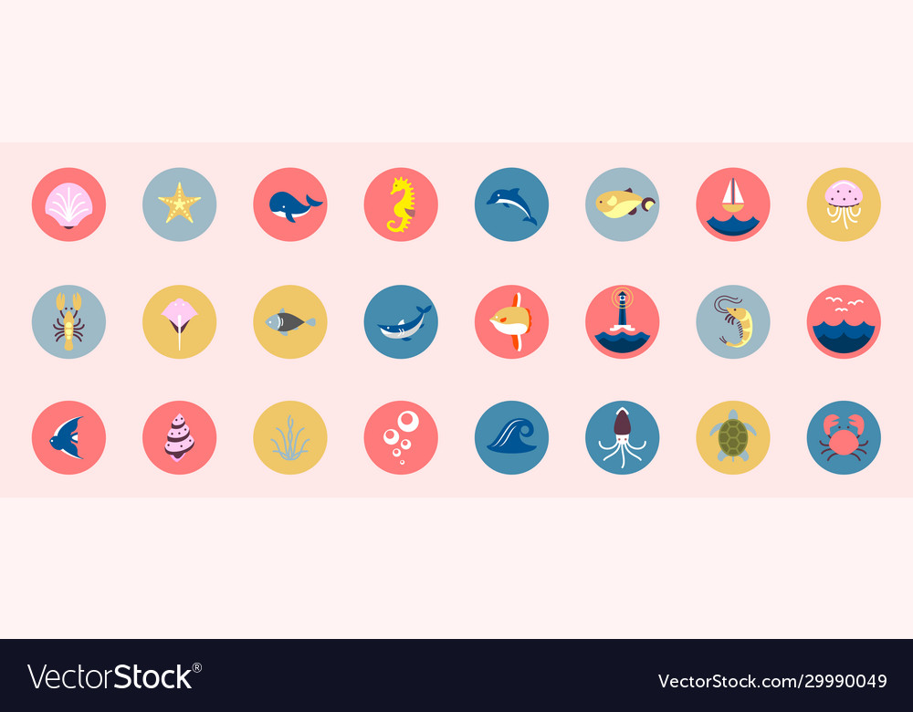 Marine icons set sea and ocean emblems flat