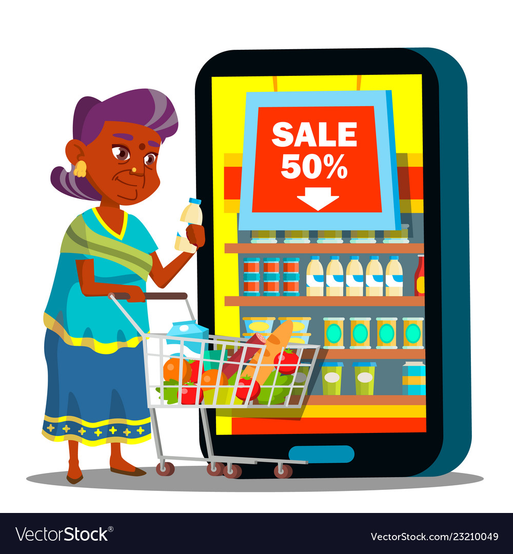 Online shopping old woman standing with