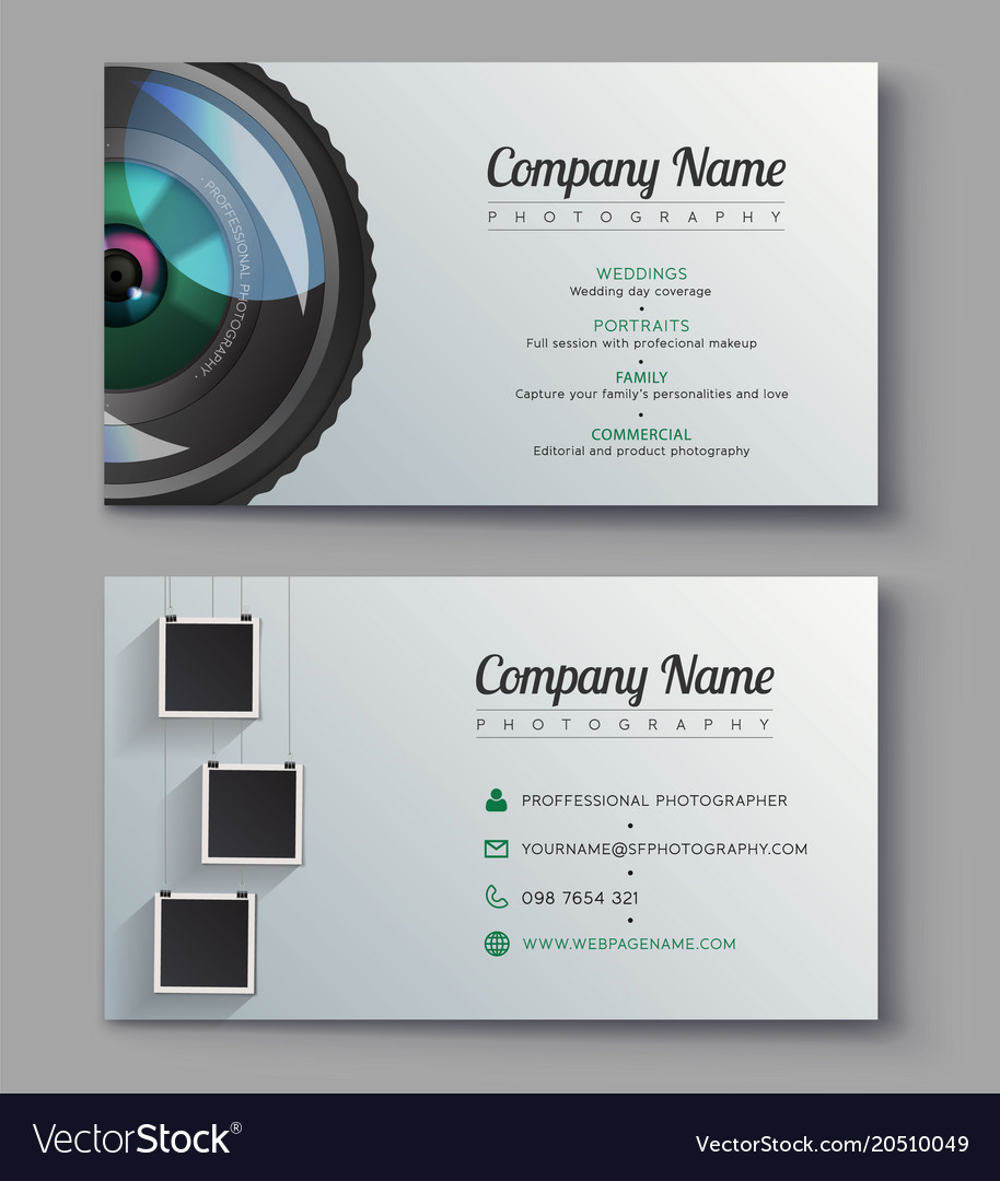 Photographer business card template design for vector image accmission