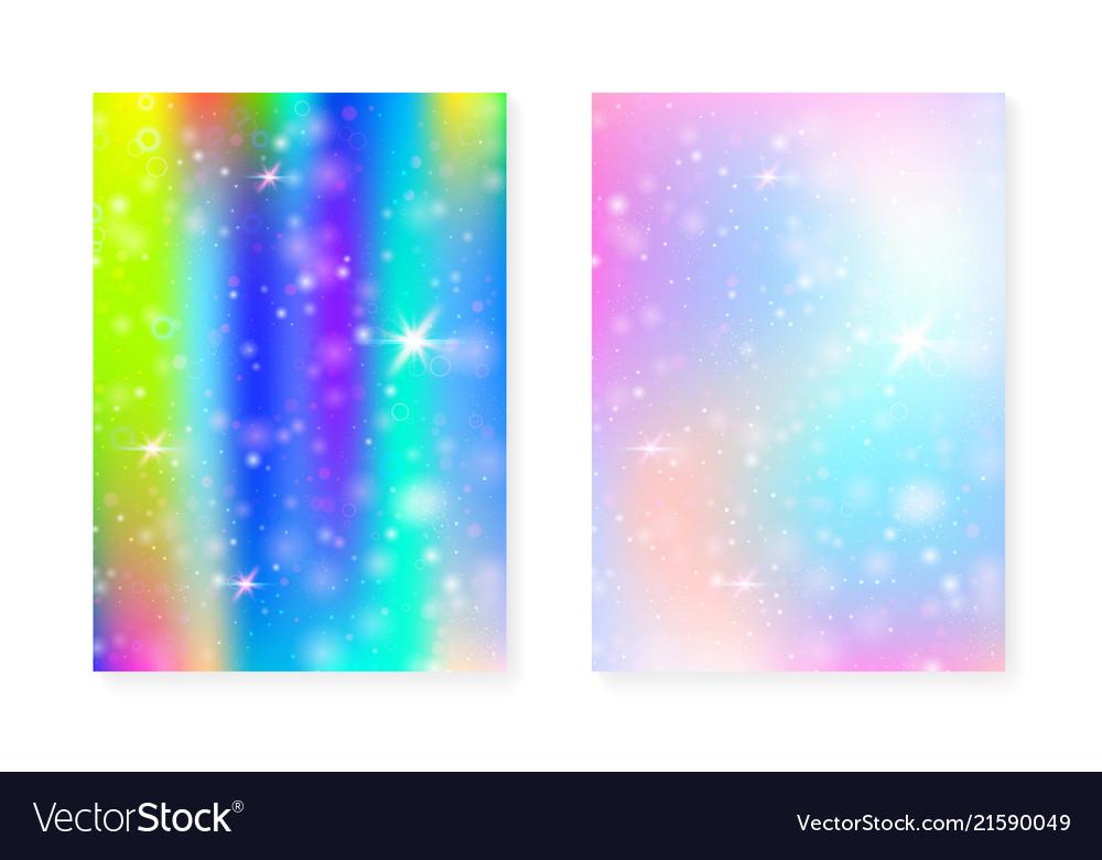rainbow background with kawaii princess gradient vector 21590049
