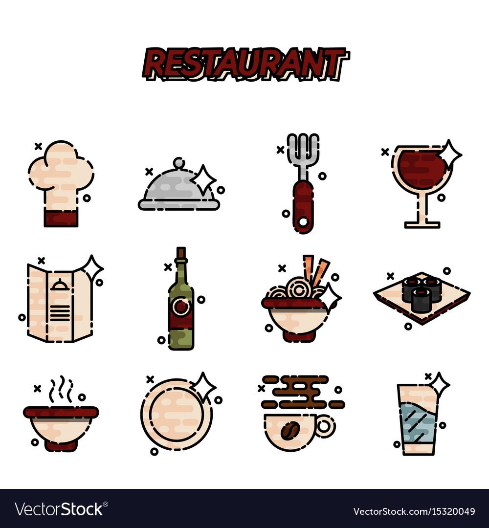 Restaurant cartoon concept icons
