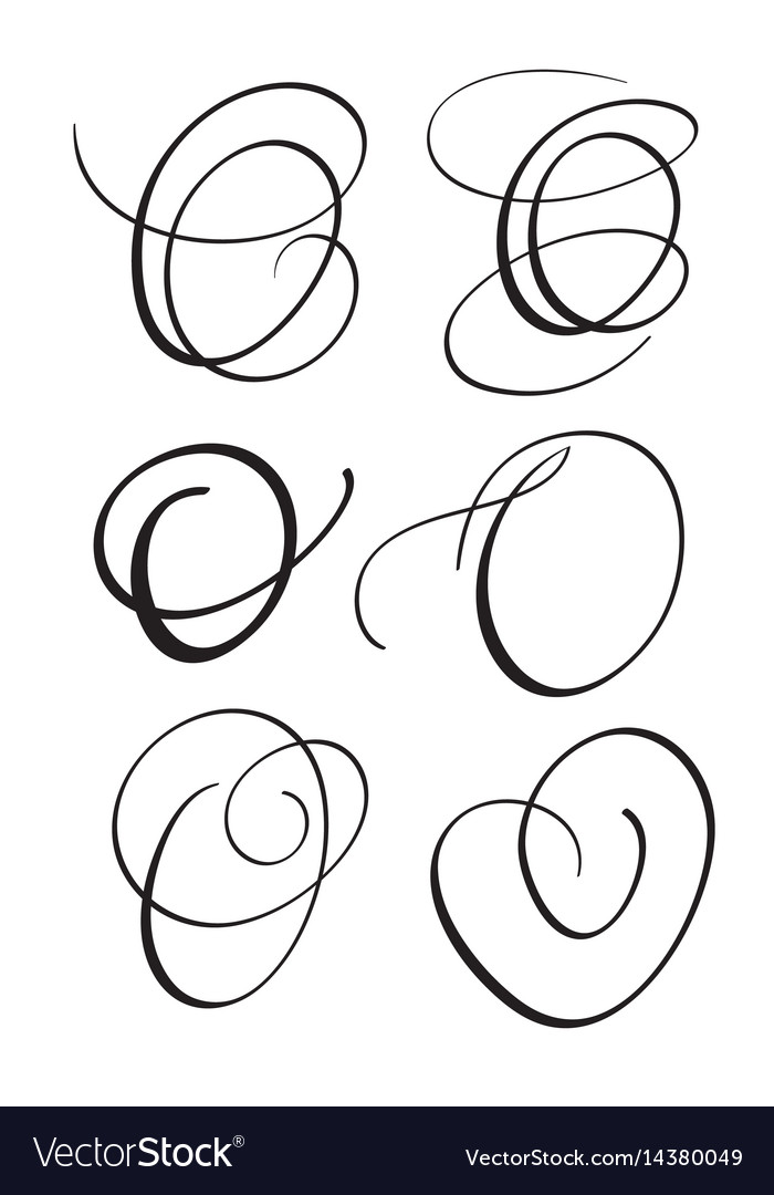 Set Of Art Calligraphy Letter O With Flourish Vector Image