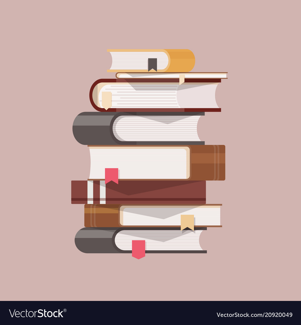 Stack of antique books with hardcovers and vector image