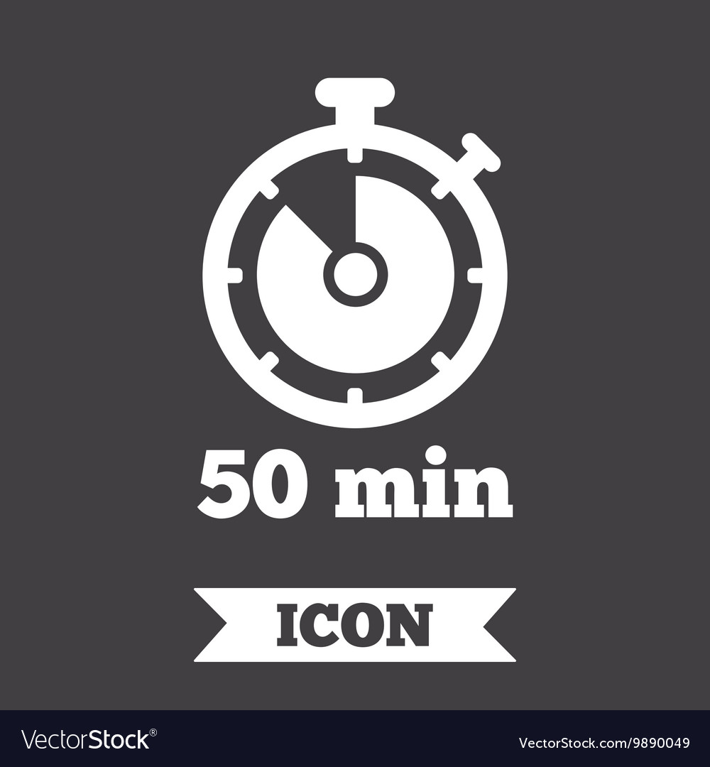 Timer sign icon 50 minutes stopwatch symbol