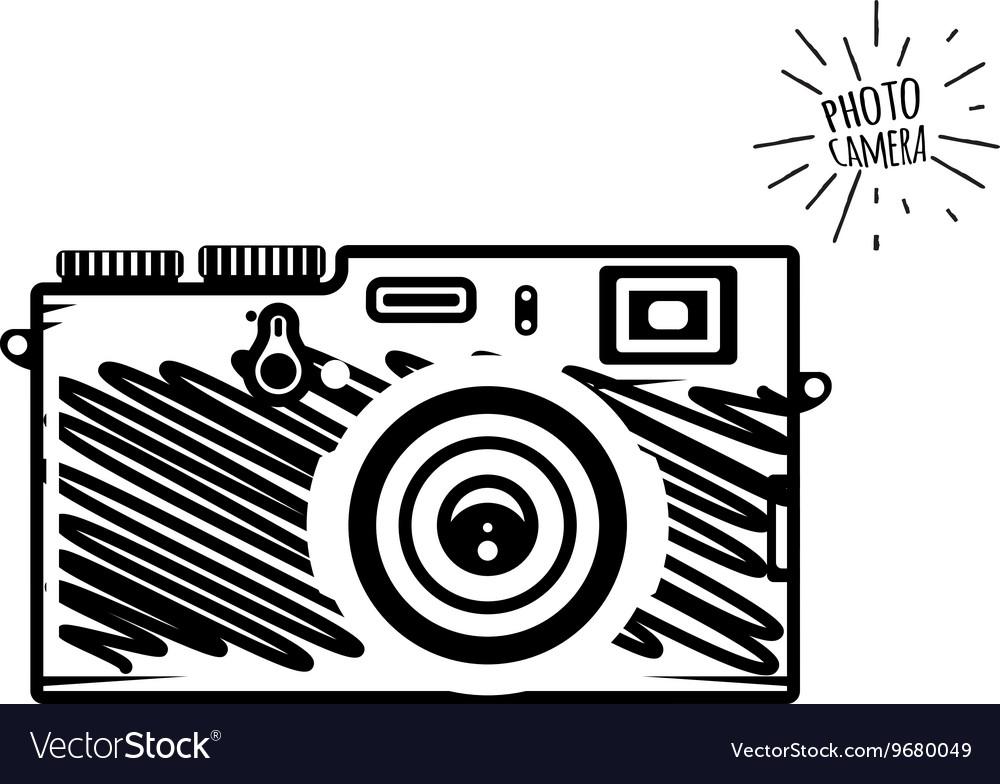 Vintage photo camera doodle style