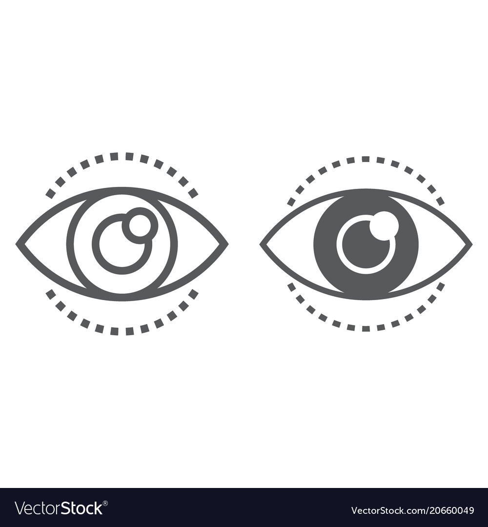 Vision line and glyph icon development vector image