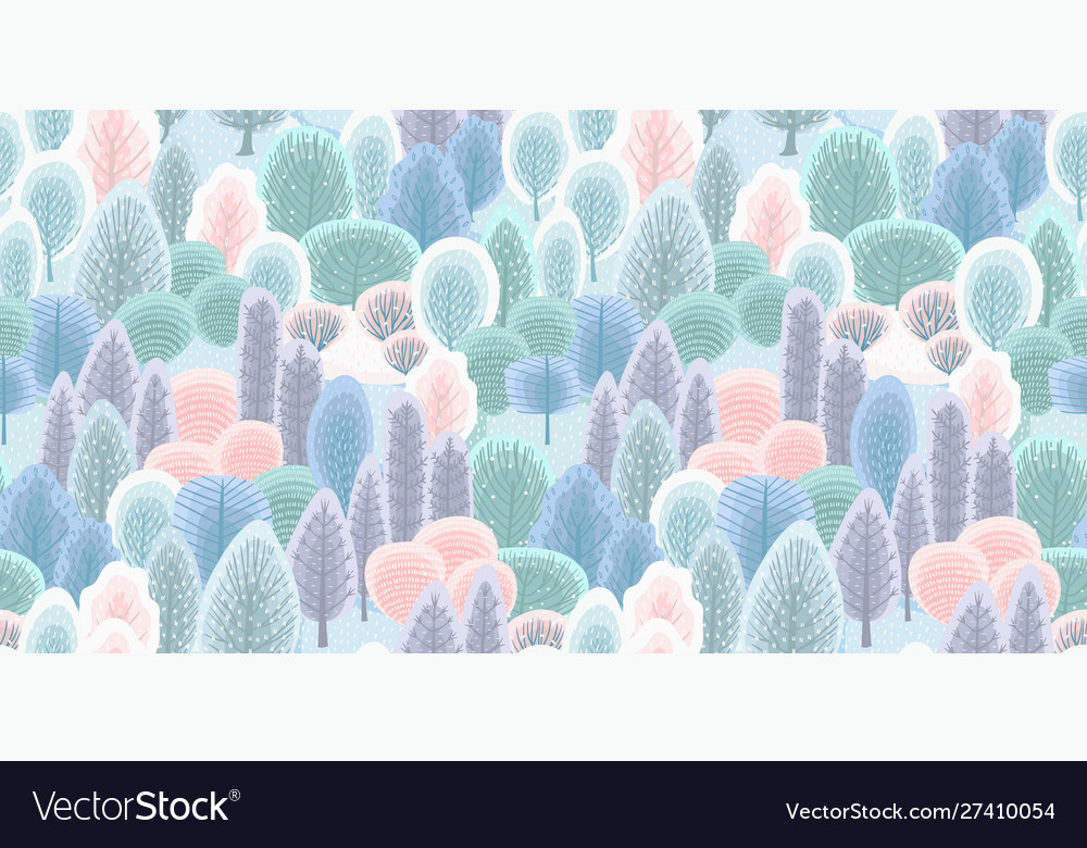 Abstract seamless pattern with winter forest