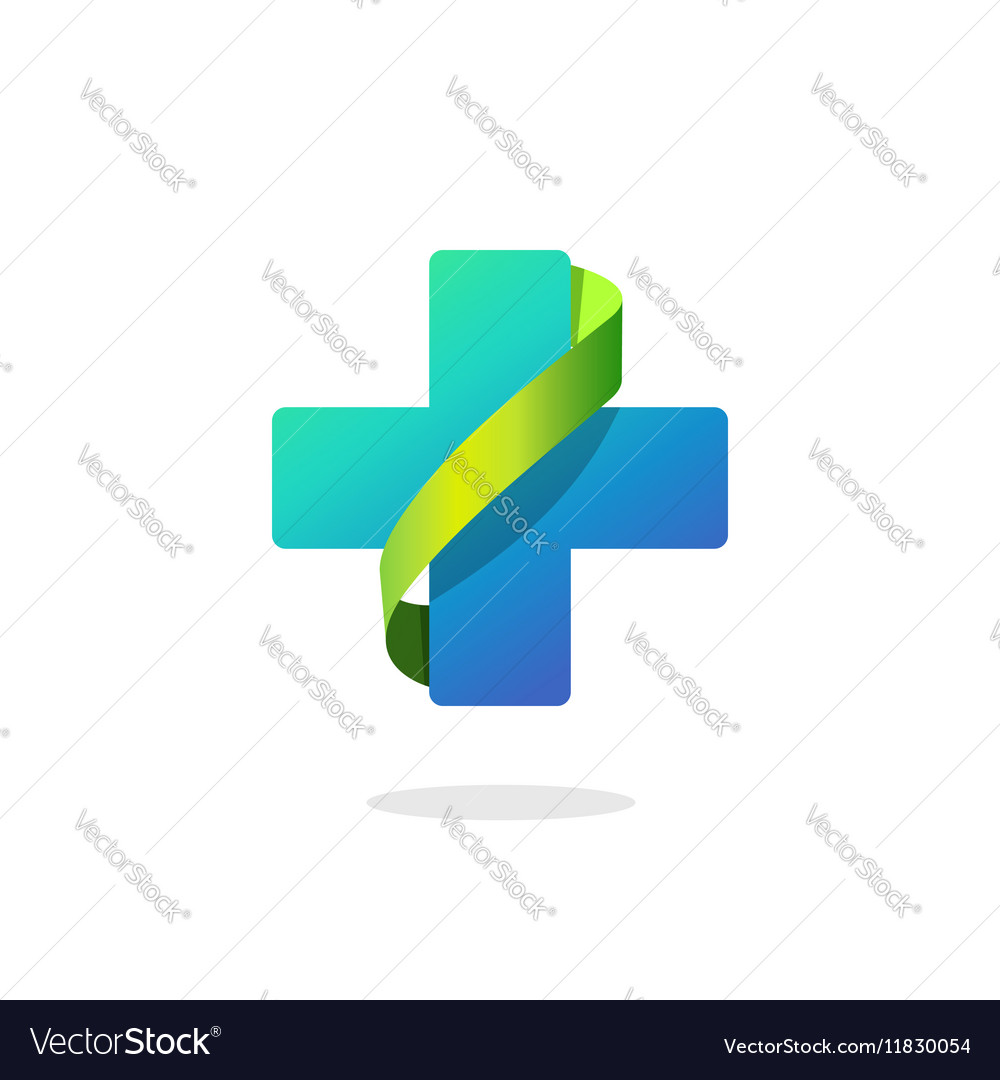 Blue medical cross logo pharmacy symbol