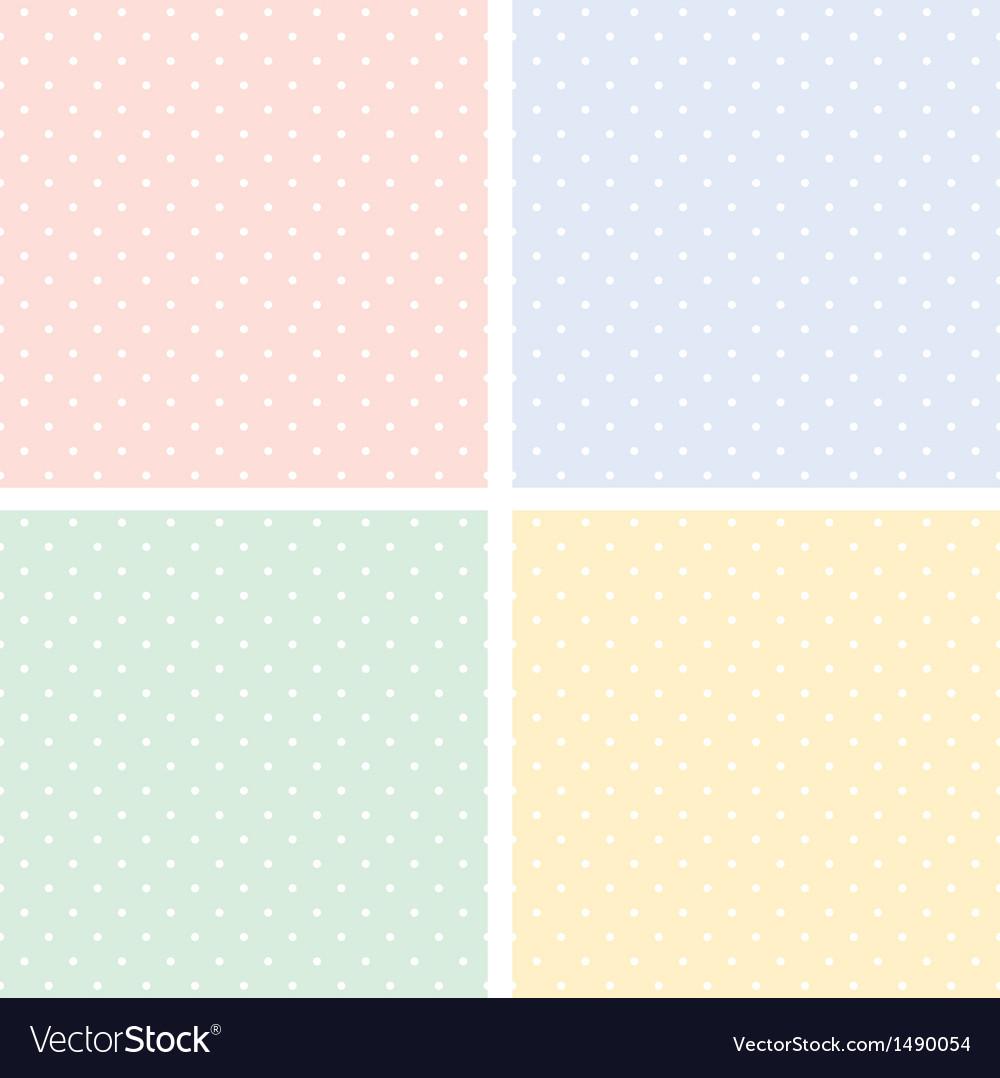 Colorful seamless patterns polka dots set vector image