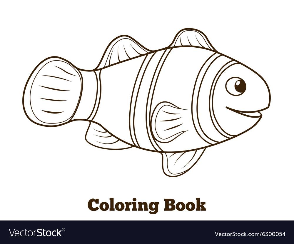 Coloring Book Clownfish Fish Cartoon Royalty Free Vector
