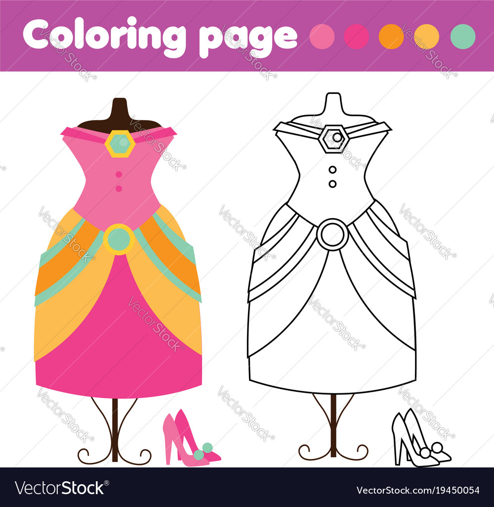 Coloring page with fashion dress and shoes