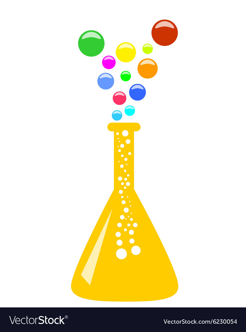 Conical chemical flask with multicolor vapor vector image