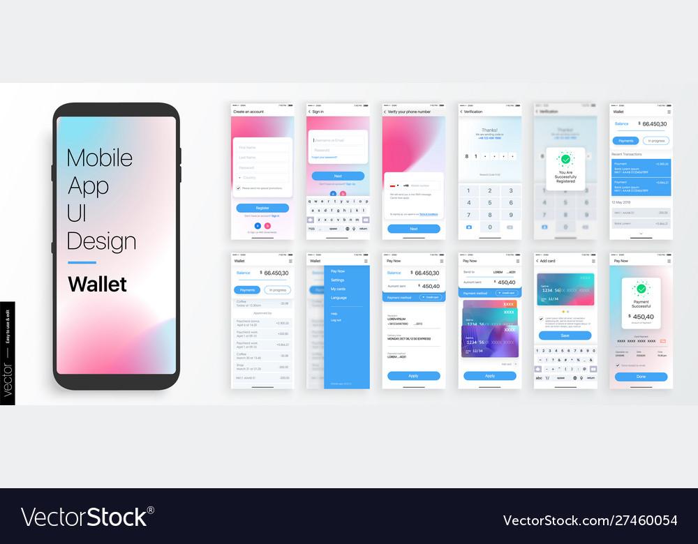 Design a mobile application and site ui set