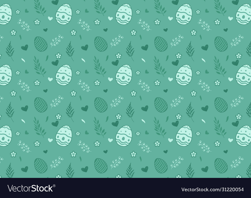 Easter eggs seamless pattern on green