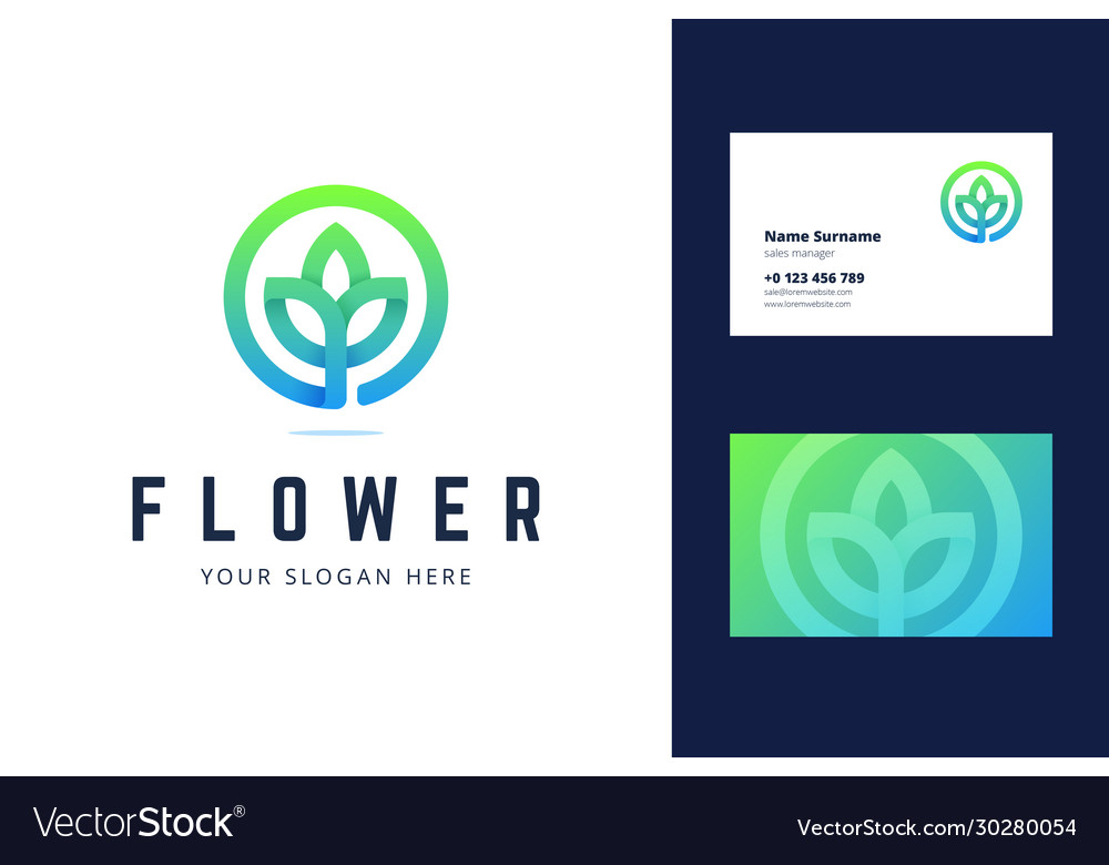 Flower logo and business card template