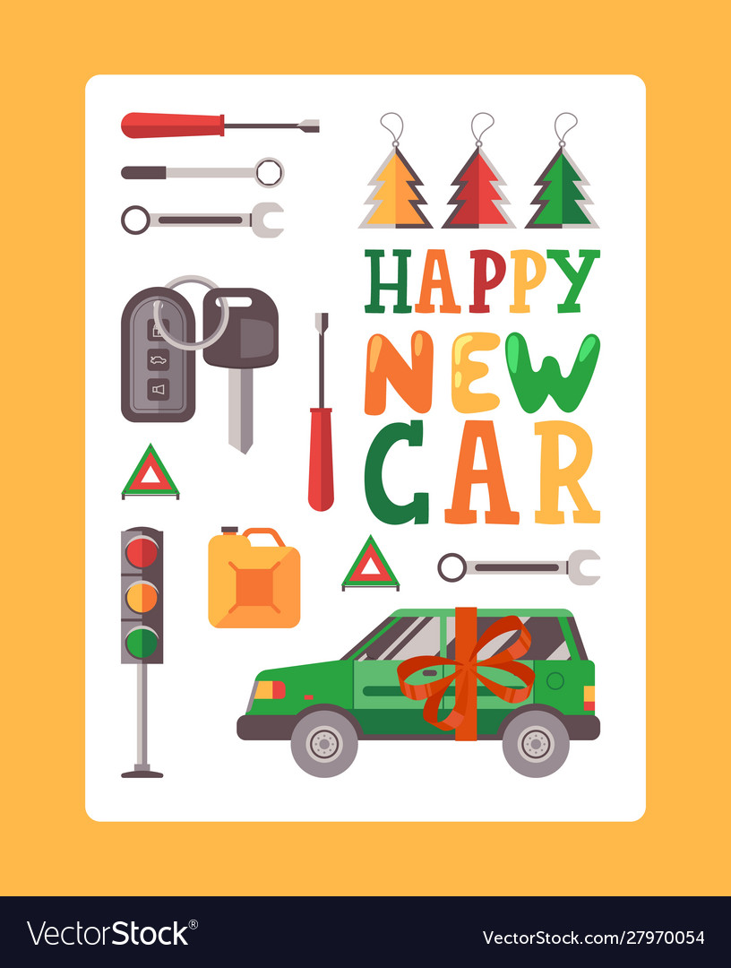 Happy new car typography poster