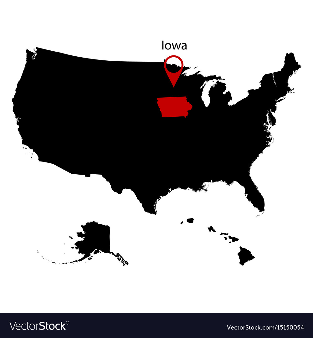 Map Of The Us State Of Iowa Royalty Free Vector Image