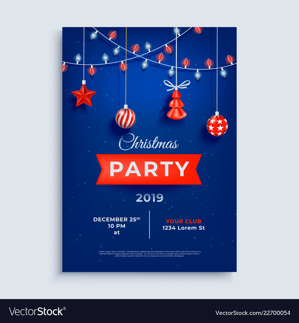 Merry christmas party layout poster template with