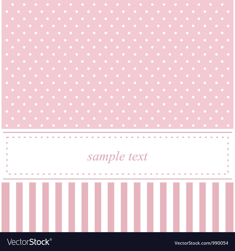 Pink card or baby shower invitation with dots