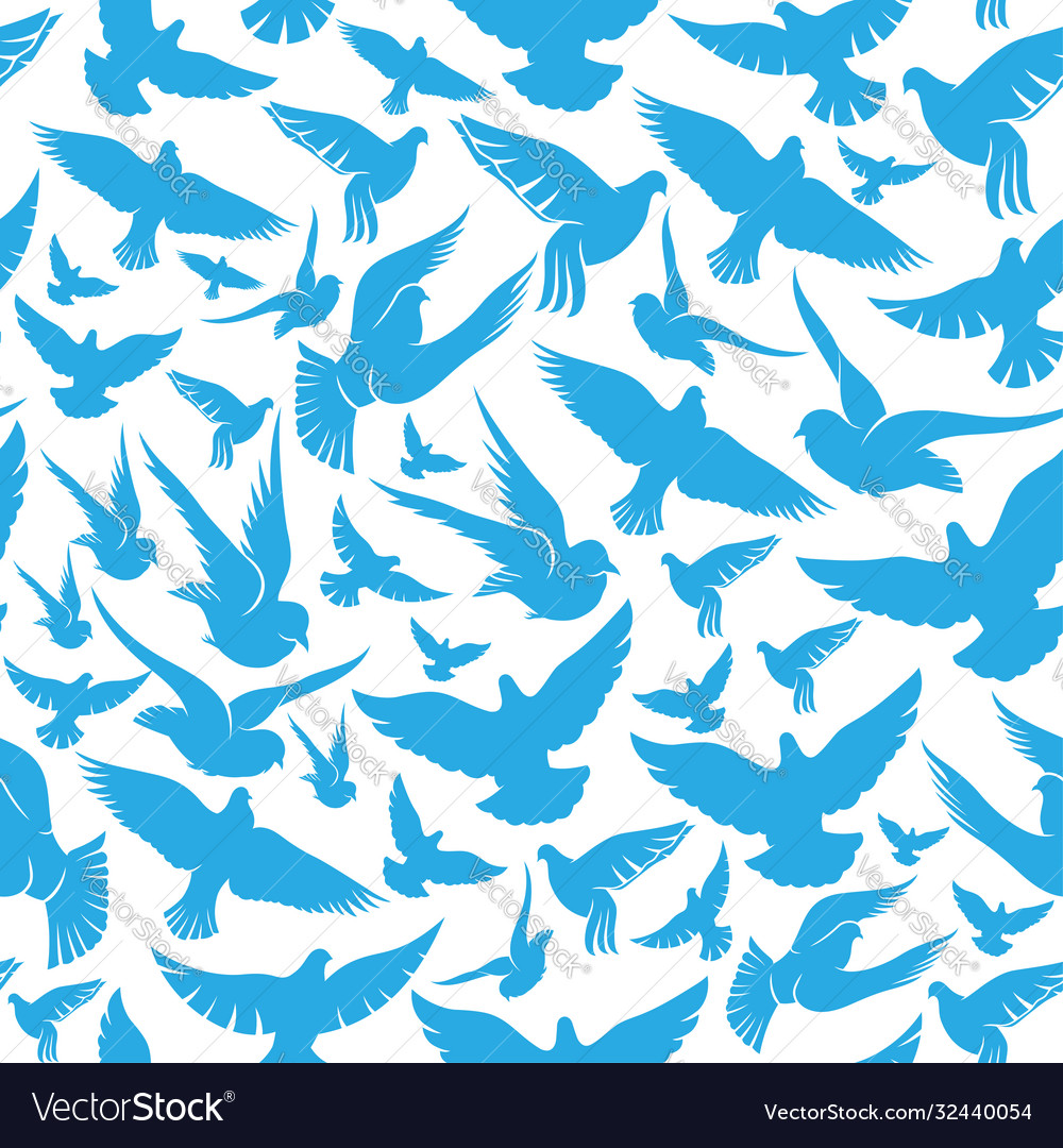 Seamless pattern with blue doves