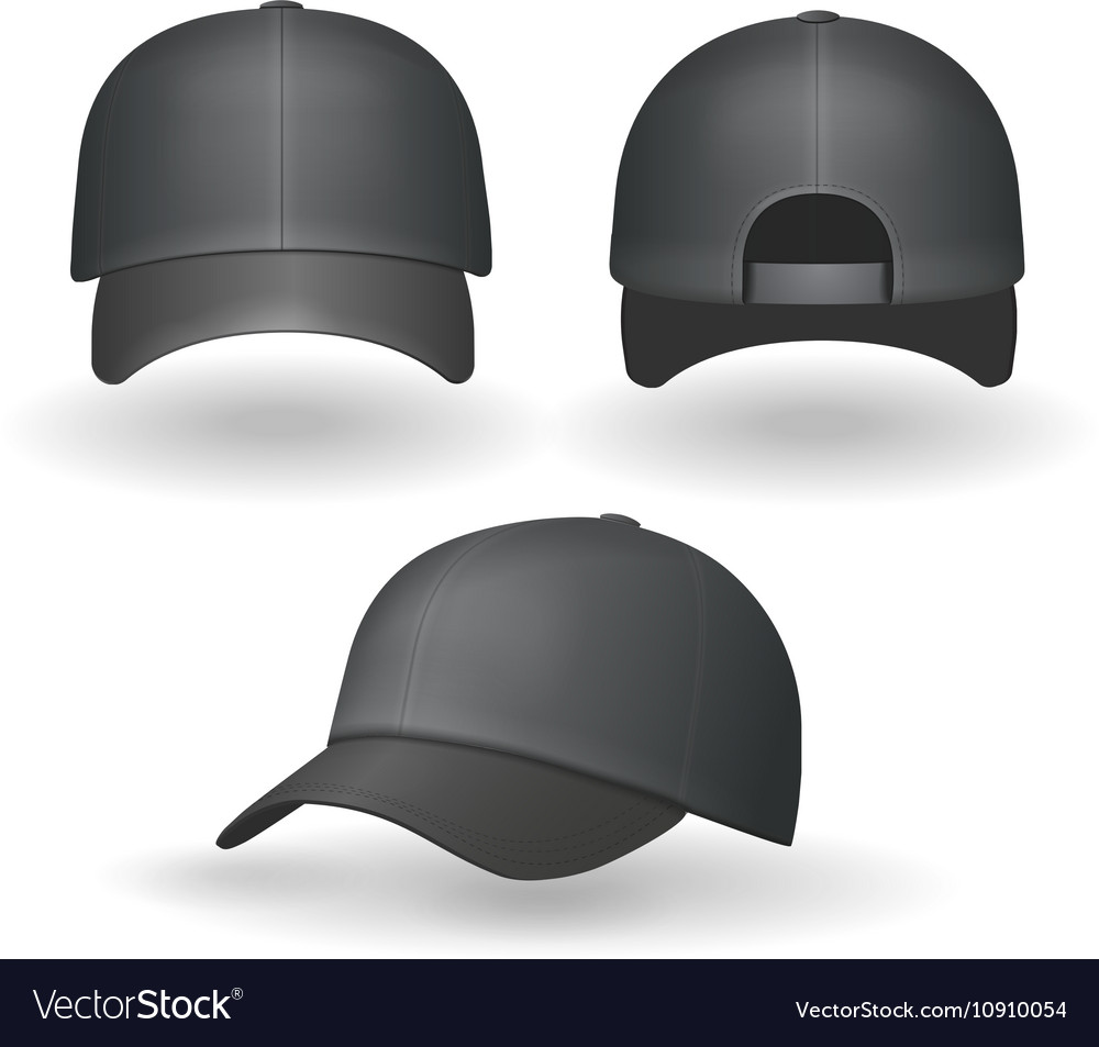 Set of realistic black baseball caps isolated