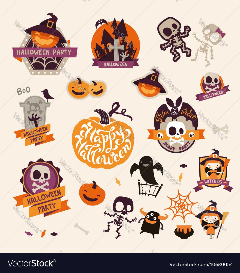 Retro Vintage Halloween Clip Art.Set Of Retro Vintage Happy Halloween Badges