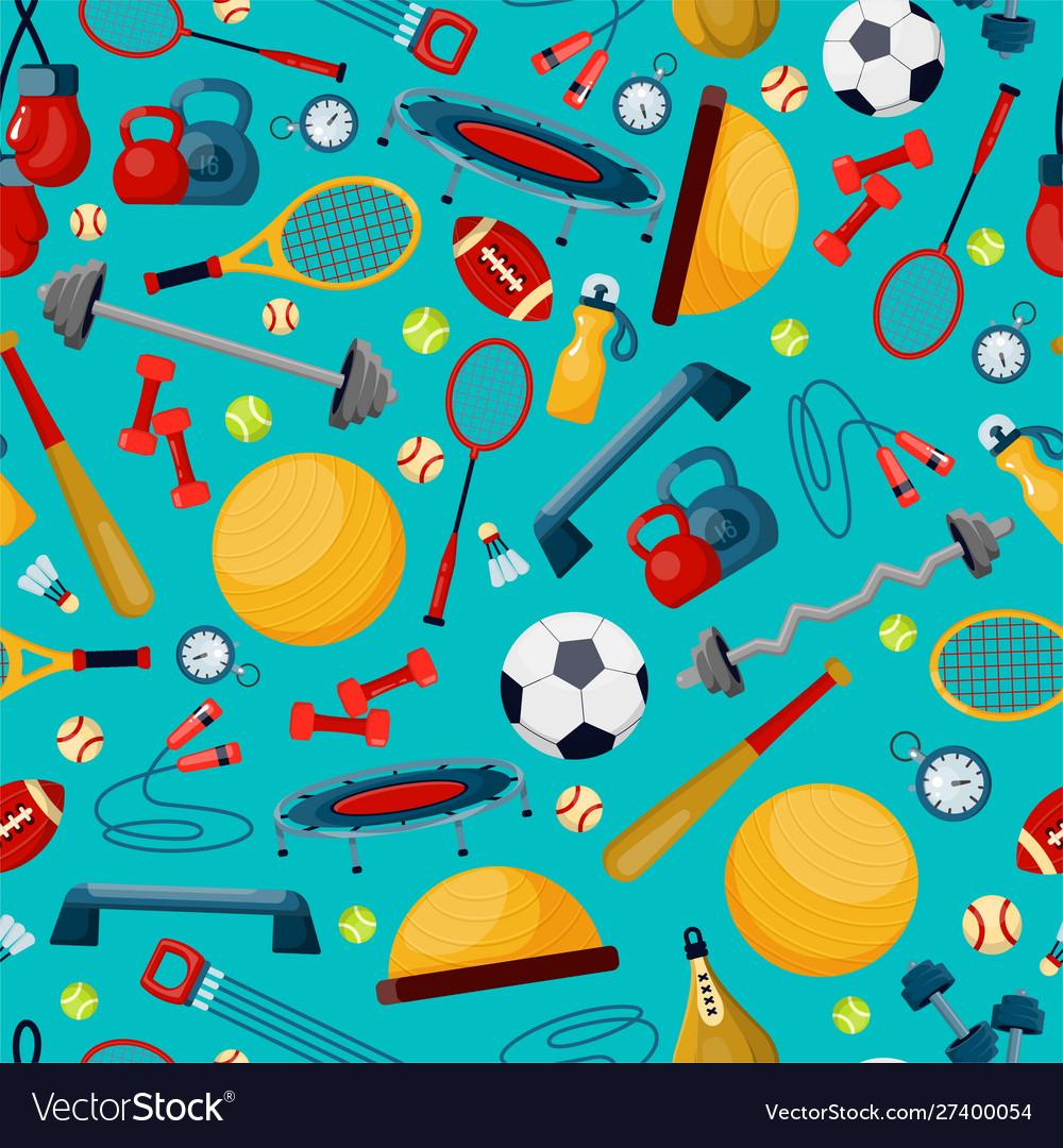 Sport accessories flat seamless pattern