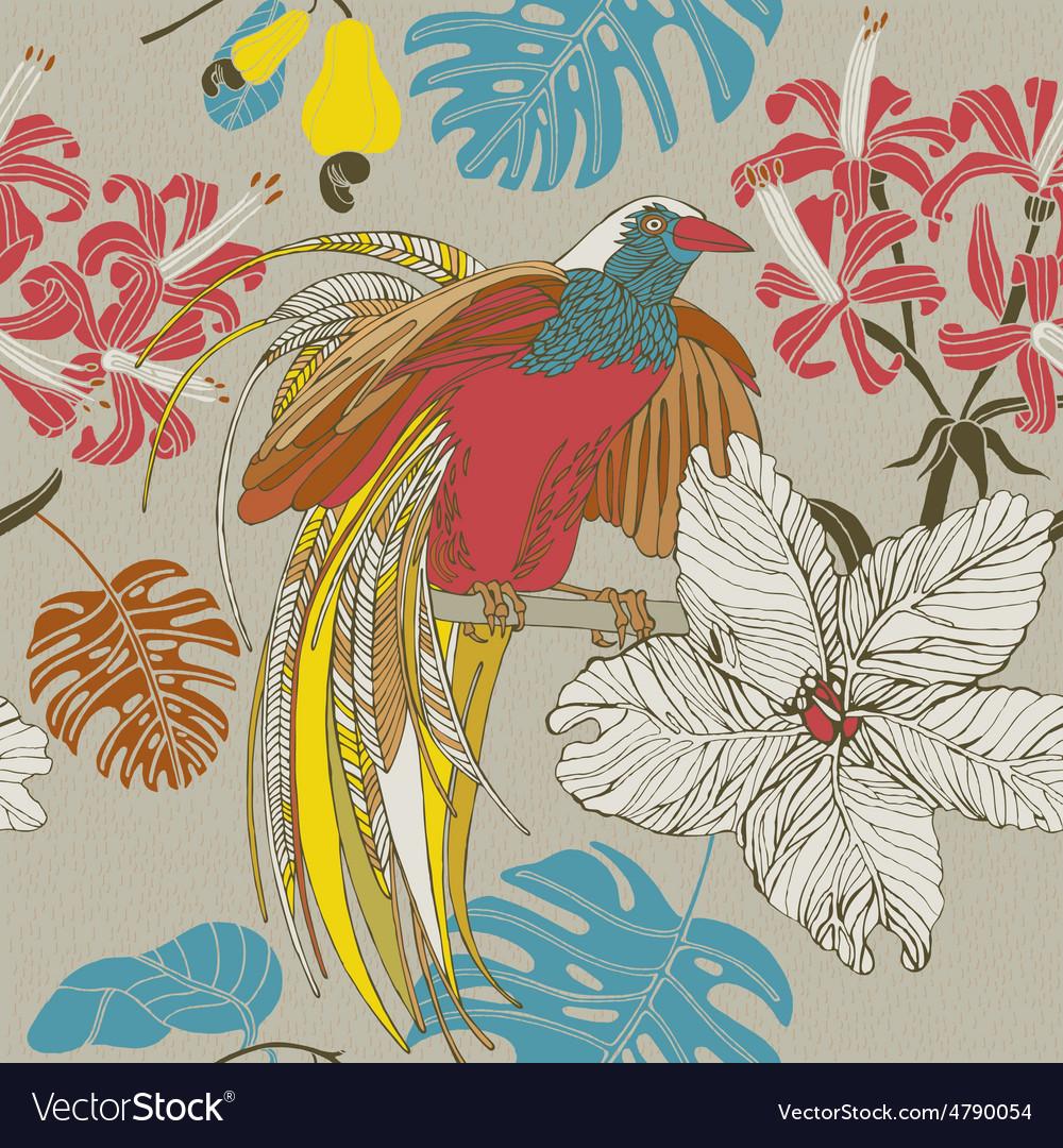 Tropical flowers birds