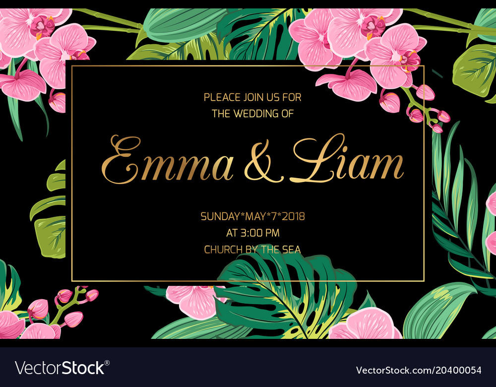 Wedding invite pink orchid flowers jungle leaves vector image stopboris Images