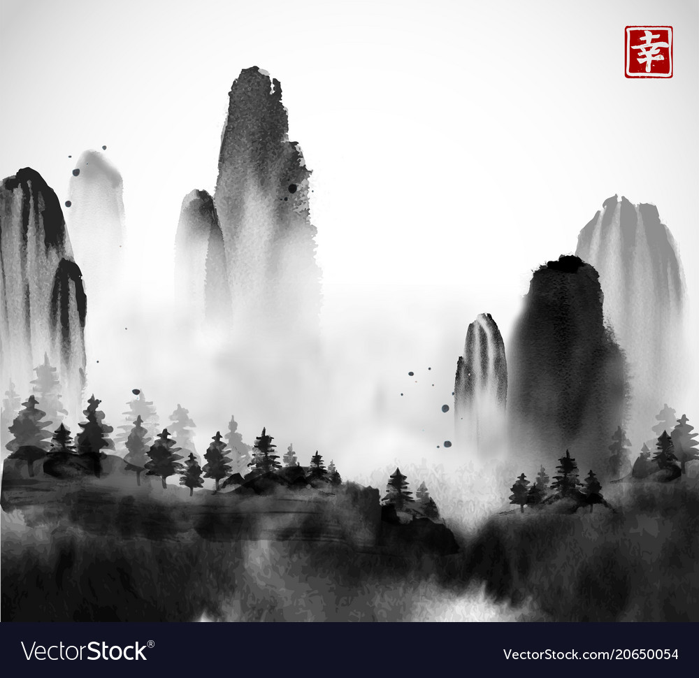 Wild forest trees and high mountains in fog hand