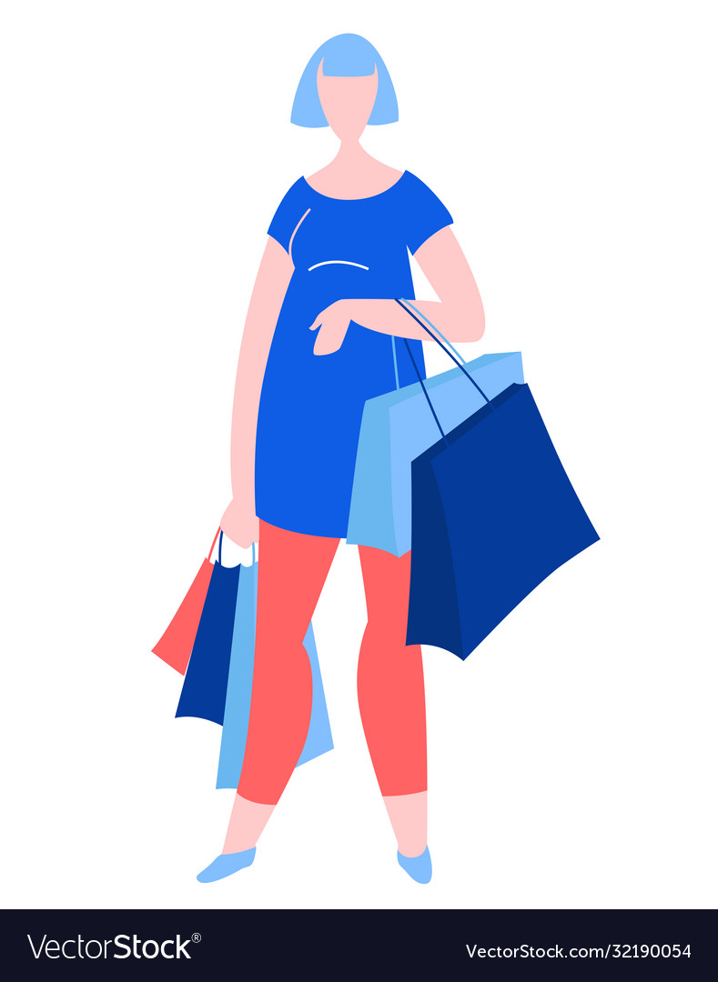 Woman standing with purchase buy paper bags