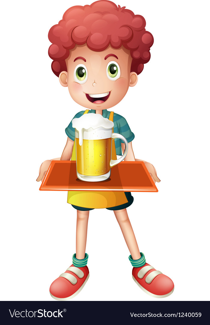 A young boy with a mug full of cold beer vector image