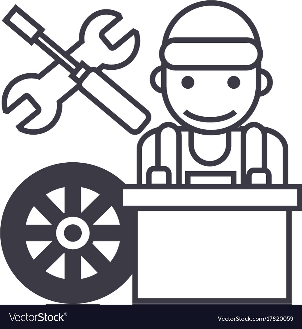 Auto mechanicbattery wheelscrewdriver and wrench vector image