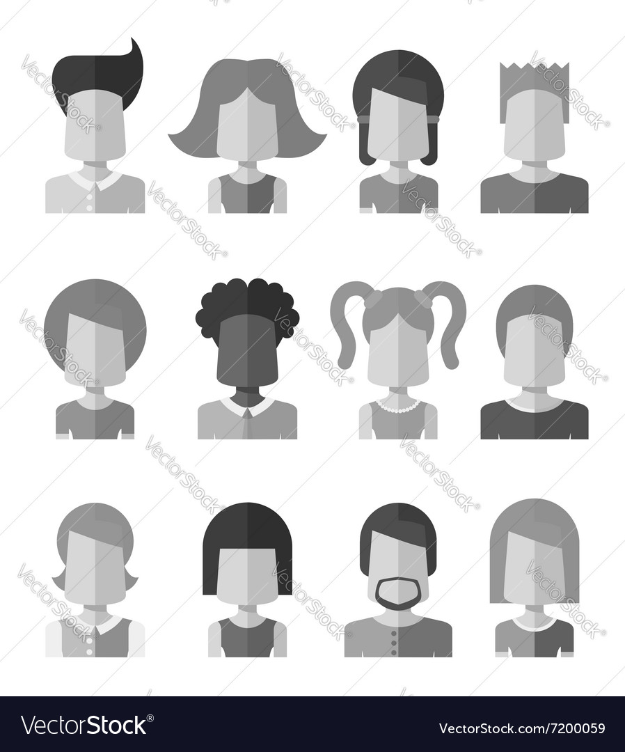 Black and white flat design people icon social