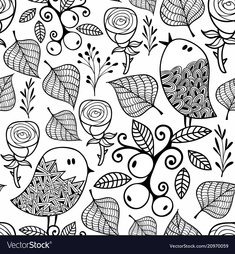 Black and white seamless pattern with doodle