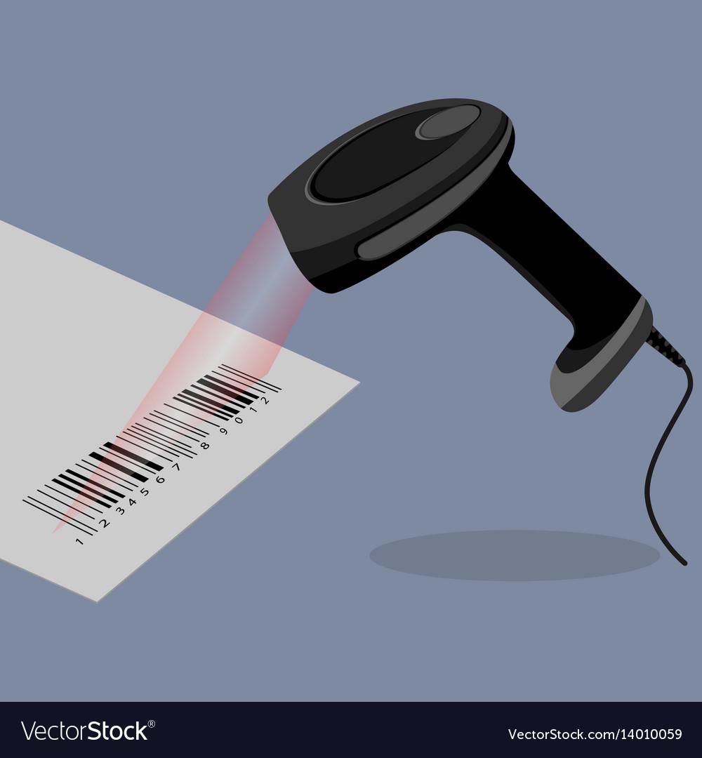 Black handheld barcode scanner scanning bar code