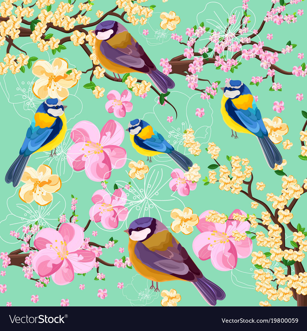 Blossom cherry flowers branch and birds pattern