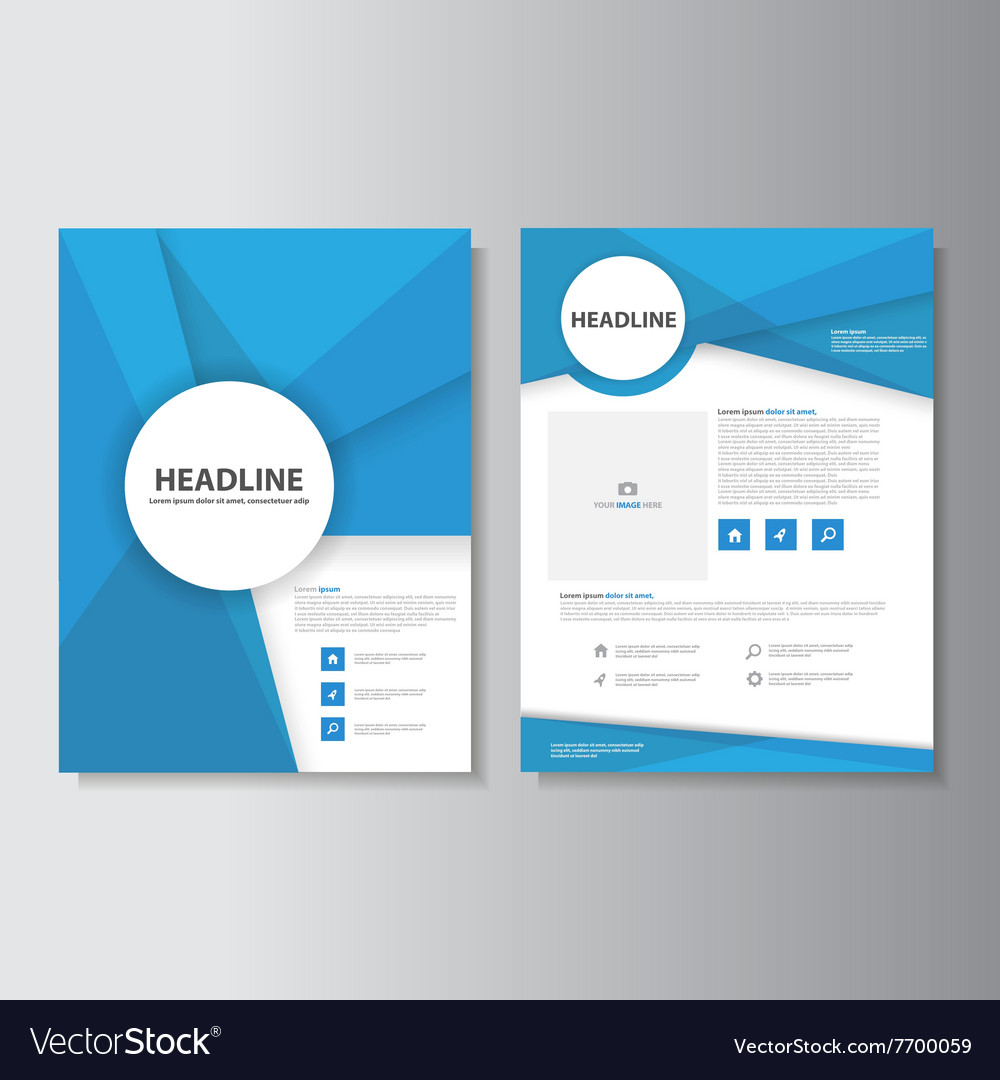 Blue Abstract Brochure Flyer Leaflet Templates Set - Template of a brochure