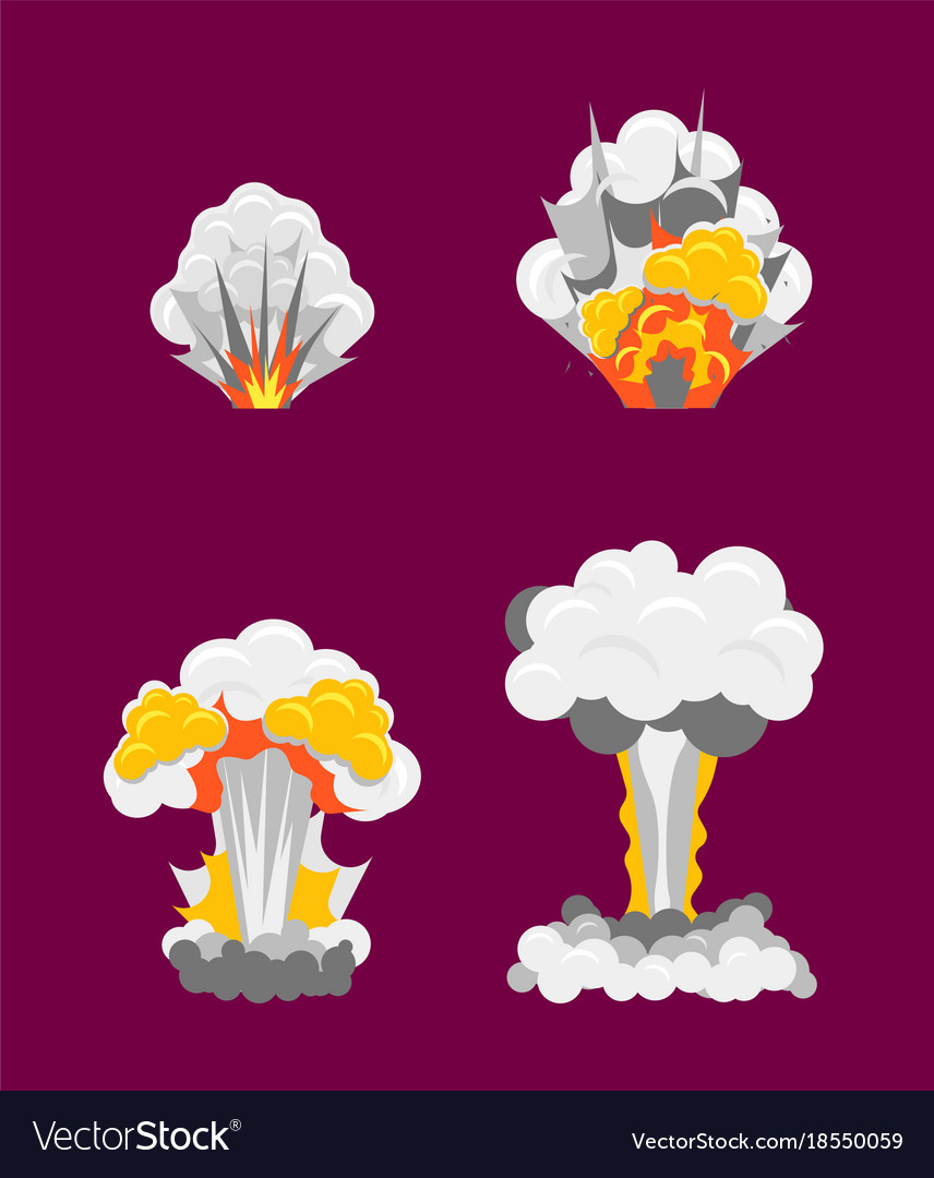 Cartoon stages process of explotion effect set