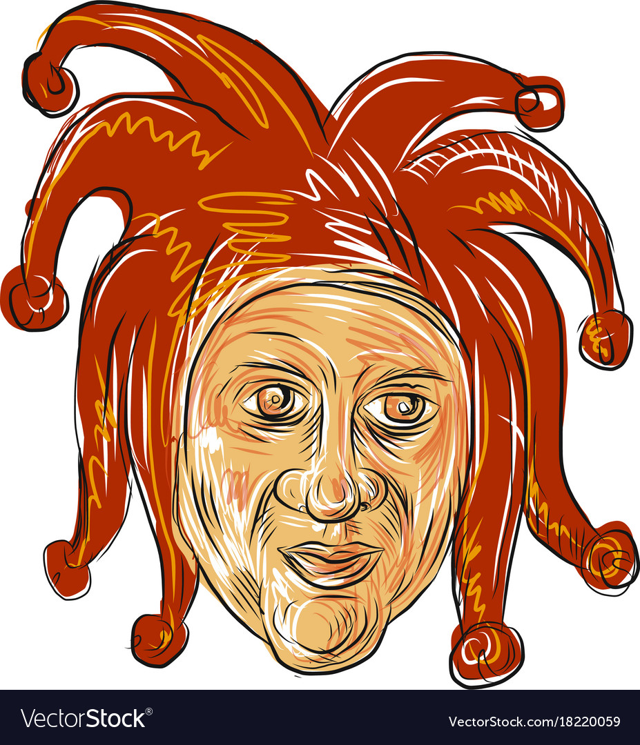 2e15022703 Court jester head drawing Royalty Free Vector Image