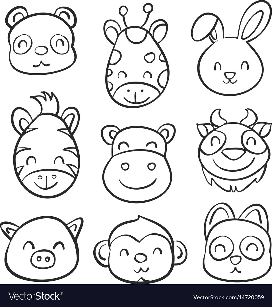 Cute animal hand draw doodle collection vector image