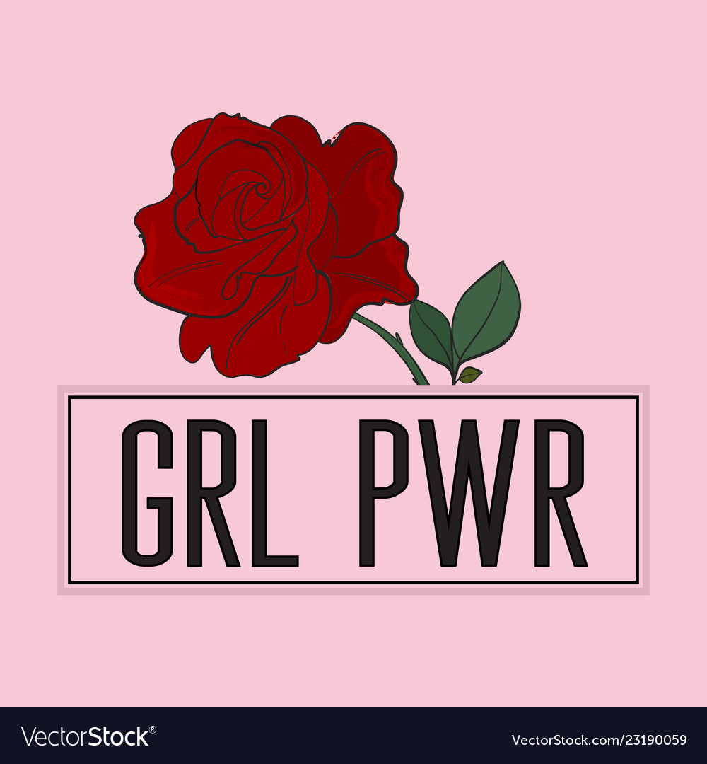 Girl power slogan with rose print on pink