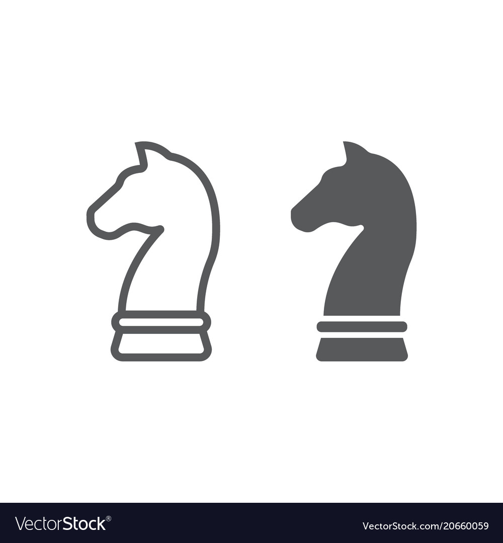 Horse chess line and glyph icon development vector image
